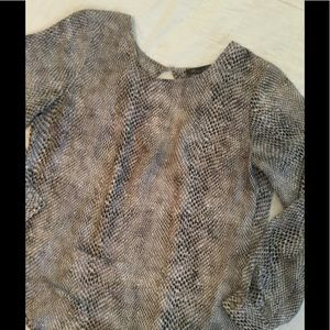 Rose & Olive python blouse with cutout back SZ Med